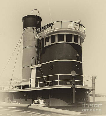 Photograph - Tug Boat Black And White by Jim And Emily Bush