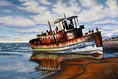 Baja California Painting - Tugboast In San Quitin by Christie Michael