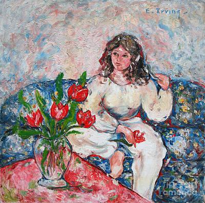 Tulip Girl Art Print by Elena Irving