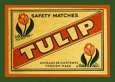 Tulip Safety Matches Matchbox Label Art Print by Carol Leigh