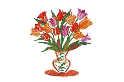 Marina Zlochin Mixed Media - Tulips 3 by Marina Zlochin