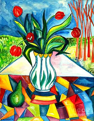Pear Tree Painting - Tulips And A Pear by Caroline Street