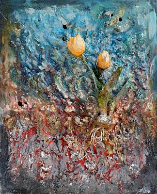 Mixed Media - Tulips by Hans Droog