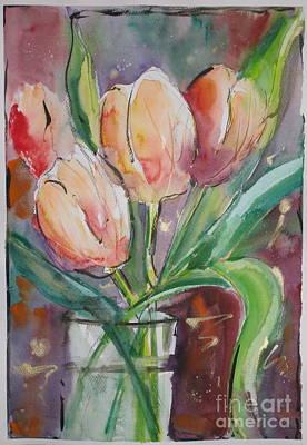 Tulips In A Vase Art Print by Mohamed Hirji