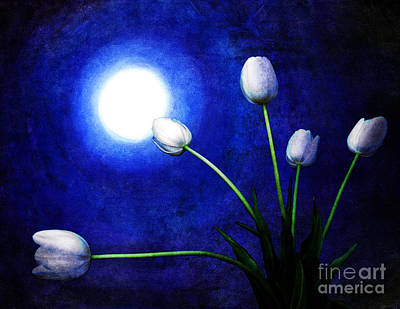 Tulips Digital Art - Tulips In Blue Moonlight by Laura Iverson