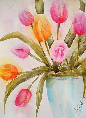 Watercolor Painting - Tulips In Blue Vase by Lucia Del