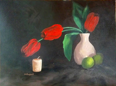 Tulips Limes And Candle Art Print
