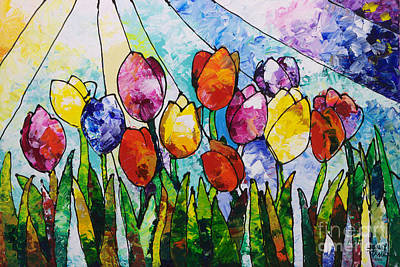Painting - Tulips On Parade by Sally Trace