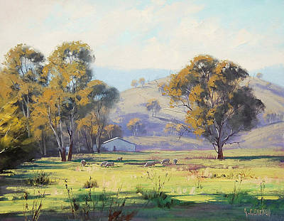 Sheep. Landscape Painting - Tumut Pastoral by Graham Gercken