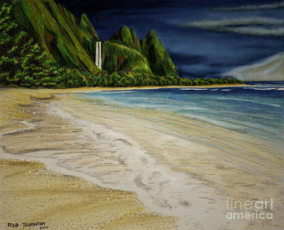 Beach Landscape Drawing - Tunnels Beach by Robert Thornton
