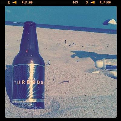 Beer Wall Art - Photograph - #turbodog #beer #beach #ocean #chill by Emily W