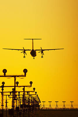 Turboprop Commercial Airplane Landing Art Print by Brian Stablyk