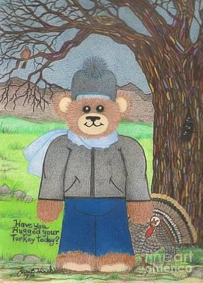 Drawing - Turkey Day Teddy Bear by Janet Hinshaw