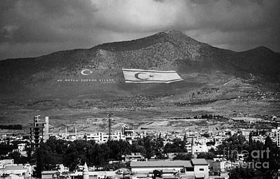 Turkish Symbols And Turkish Cypriot Flags In Besparnak Mountain Overlooking Nicosia Cyprus Print by Joe Fox