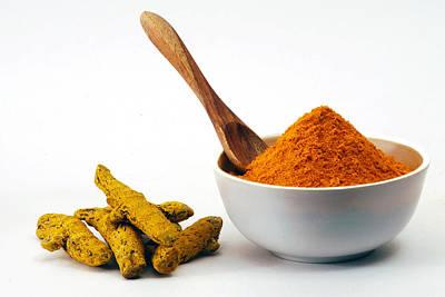 Turmeric Powder In Bowl And Raw Turmeric Print by Subir Basak