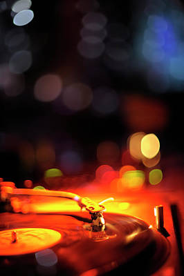 Nightlife Photograph - Turntable And Club Lights by Vilhelm Sjostrom