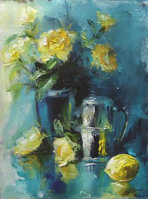 Turquoise Abnd Yellow Roses Original by Nelya Shenklyarska