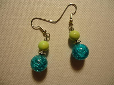 Turquoise And Apple Drop Earrings Original by Jenna Green