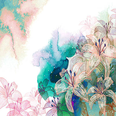 Turquoise Lilies Art Print