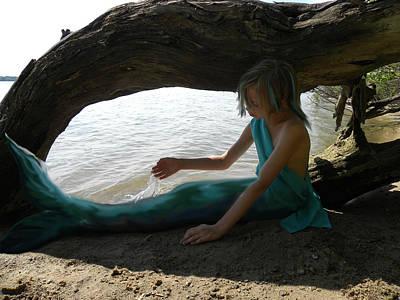 Little Mermaid Digital Art - Turquoise Mermaid by Sheri Lauren Schmidt