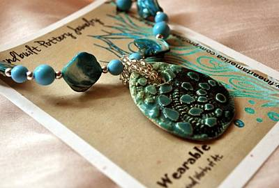 Turquoise Oval Pottery Shell Necklace  Original by Amanda  Sanford