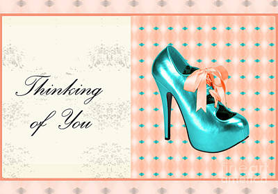 Turquoise Shoe Thinking Of You Art Print by Maralaina Holliday