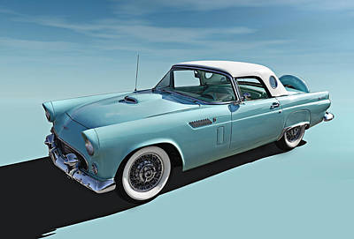 Digital Art - Turquoise T-bird by Douglas Pittman