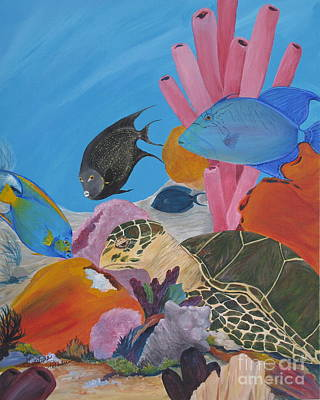 Turtle And Friends Art Print by Barbara Petersen