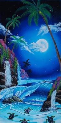 Hawaii Sea Turtle Painting - Turtle Cove by Rehana Farooqi