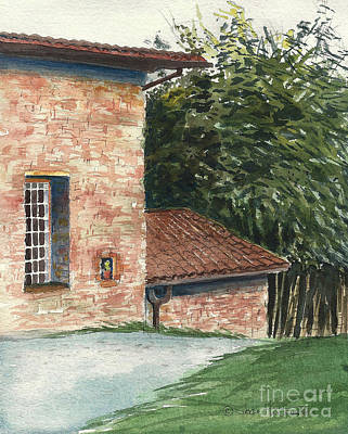 Art Print featuring the painting Tuscan Brick And Bamboo by Joan Hartenstein
