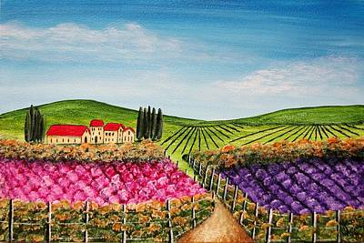 Tuscan Hills Painting - Tuscan Flower Fields 4512 by Jessie Meier