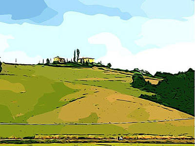 Tuscan Landscape Art Print by Dee Phillips