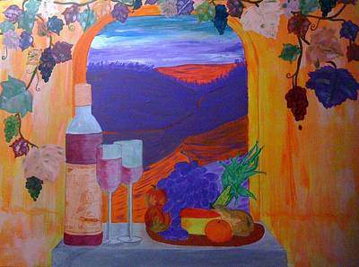 Art Print featuring the painting Tuscan Lunch by Judi Goodwin