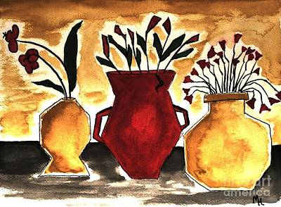 Tuscan Pottery With Flowers Ll Art Print by Marsha Heiken