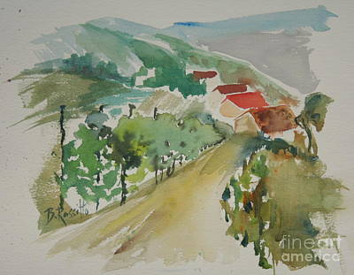 Wet Into Wet Watercolor Painting - Tuscan Vineyard by B Rossitto