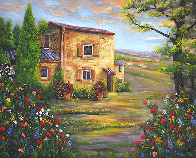 Tuscany Farmhouse Art Print by Connie Tom