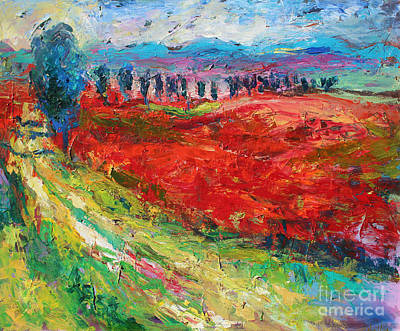 Cypress Tree Drawing - Tuscany Italy Landscape Poppy Field by Svetlana Novikova