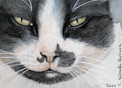 Contest Winner Mixed Media - Tuxedo Cat by Svetlana Ledneva-Schukina