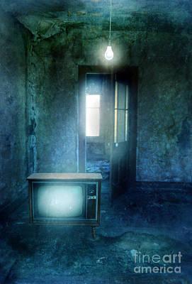 Tv And Bare Lightbulb Art Print