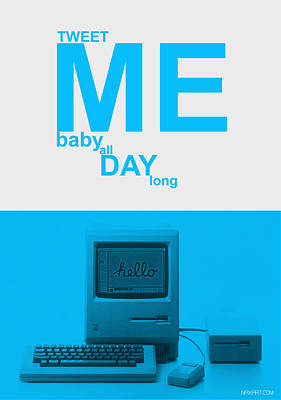 Social Digital Art - Tweet Me Baby All Night Long by Naxart Studio