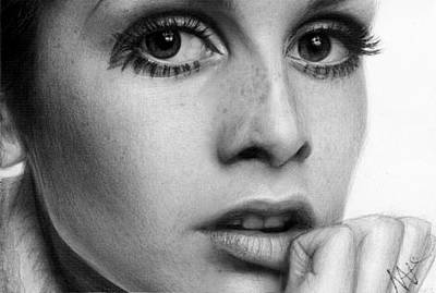 Twiggy Drawing - Twiggy by Nat Morley