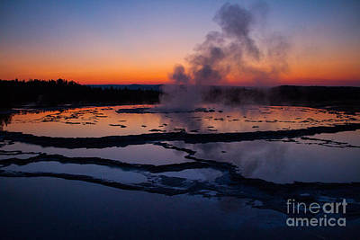 Photograph - Twilight Eruption Of Great Fountain Geyser 5 by Katie LaSalle-Lowery