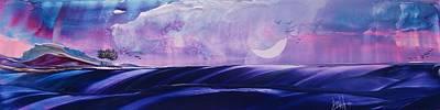 Moonshadow Painting - Twilight Moon Rise by Danita Cole