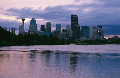 Twilight On The Bow River And Calgary Art Print by Michael S. Lewis