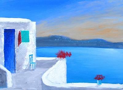 Twilight Santorini Art Print