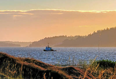 Photograph - Twilight Tug -chambers Bay Golf Course by Chris Anderson