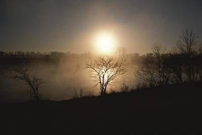 Twilight View Of Fog Over The Tennessee Art Print by Sam Abell