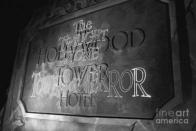 Photograph - Twilight Zone Tower Of Terror Sign Hollywood Studios Walt Disney World Prints B And W Film Grain by Shawn O'Brien