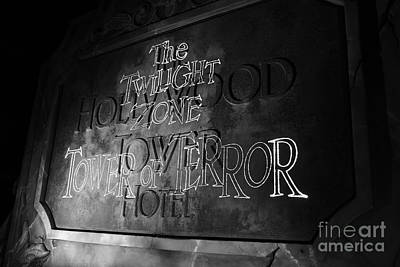 Photograph - Twilight Zone Tower Of Terror Sign Hollywood Studios Walt Disney World Prints Black And White by Shawn O'Brien