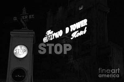 Photograph - Twilight Zone Tower Of Terror Stop Sign Hollywood Studios Walt Disney World Prints Black And White by Shawn O'Brien